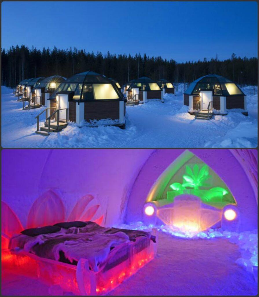 Arctic Snow Hotel Glass Igloos éjszaka a sarki fény alatt