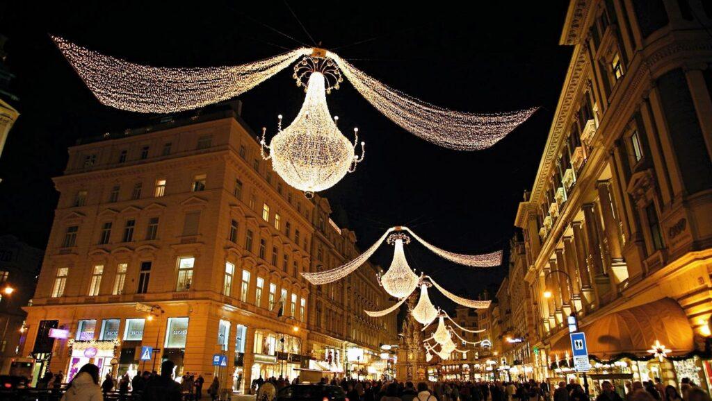 Becsi karácsonyi vásár az utca felett fényekkel