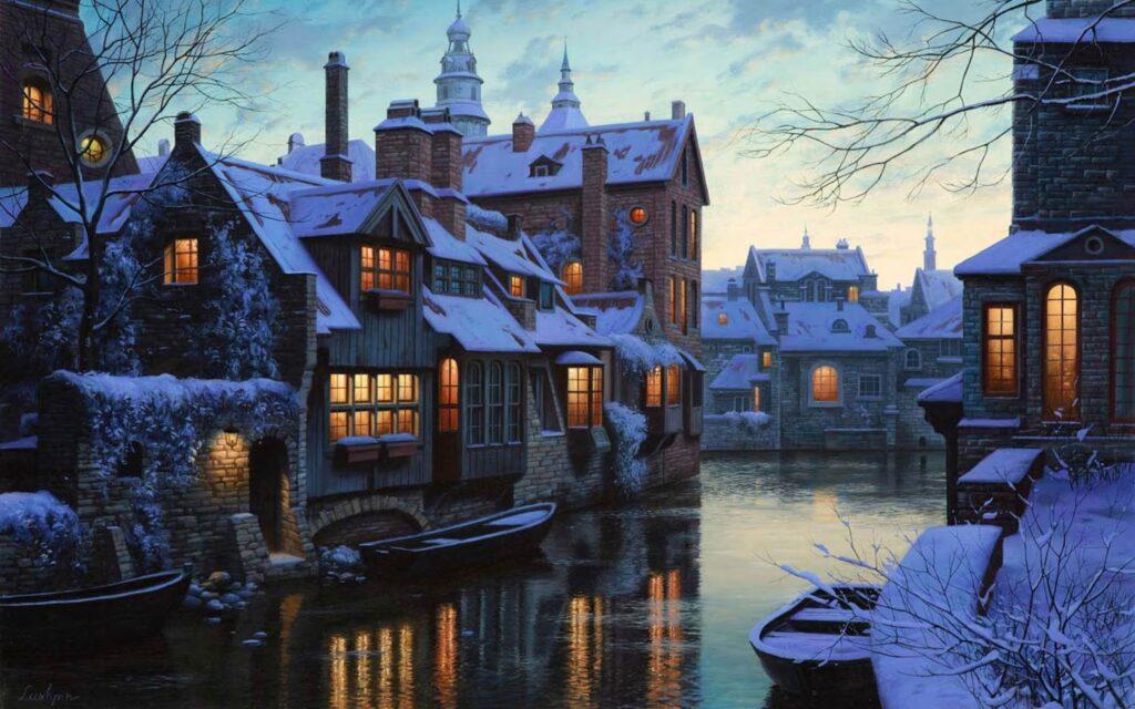 Bruges Belgium hangulatos téli esték