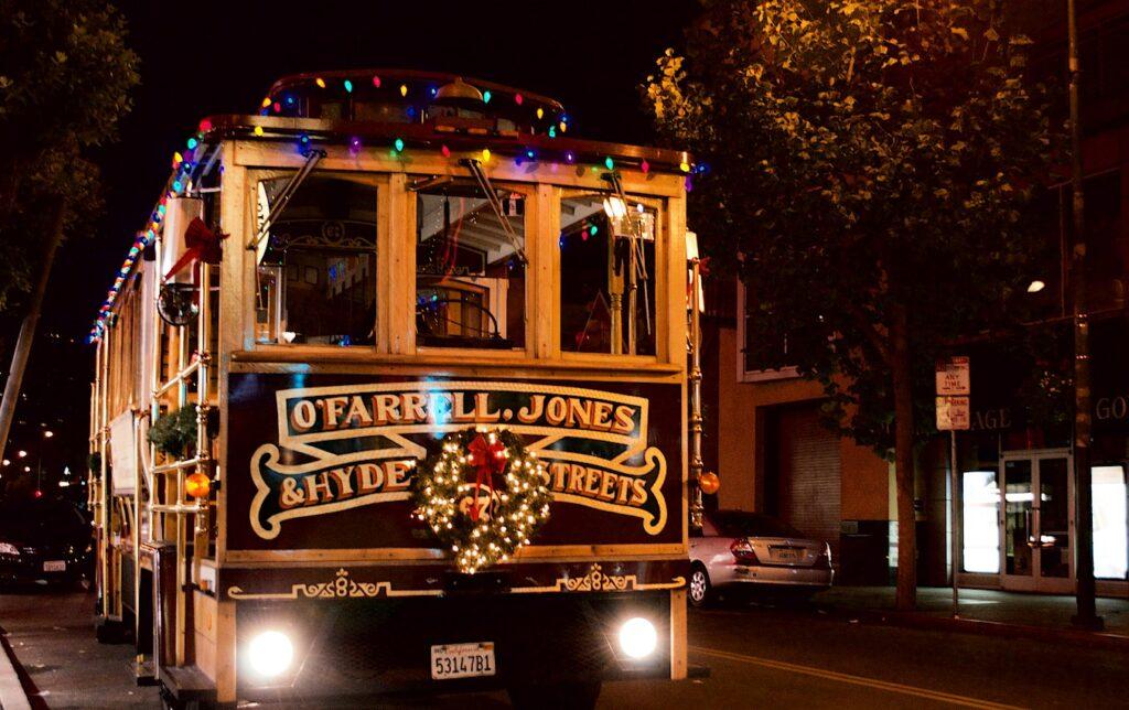 San Francisco villogó fények karácsonykor