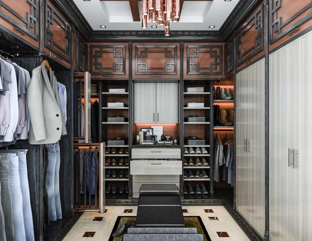 Minőségi ruhák mellett a prémium alapanyagú bútorok is jellemzik egy milliomos férfi gardróbját.